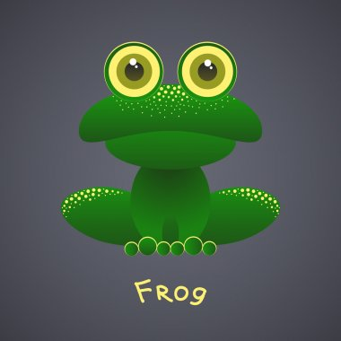Funny green frog on a gray background