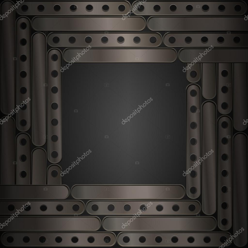 Steampunk background of thin metal plates. Frame