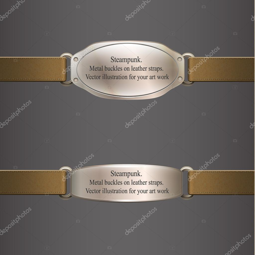 Metal banner on brown leather straps. steampunk