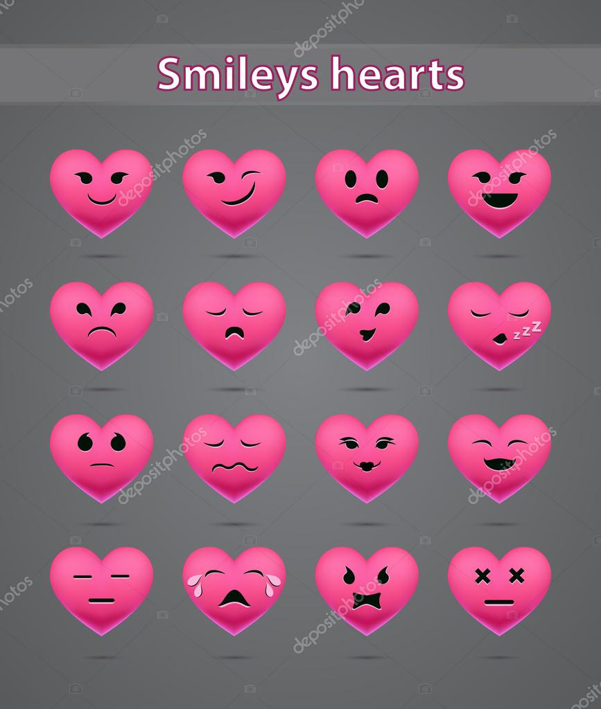 Funny pink heart-shaped emoticons — Stock Vector © man ... - photo#28