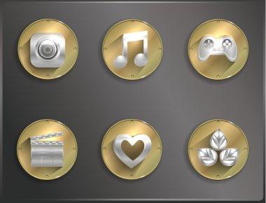 Metal round icons flat