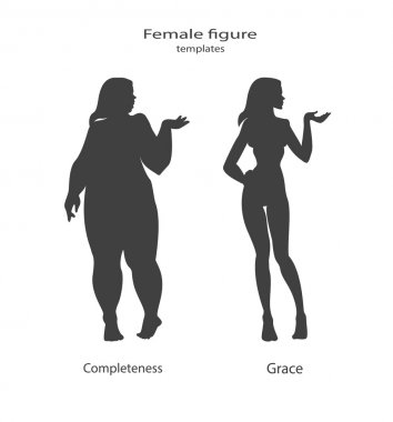 silhouette figure of a woman, thick and thin
