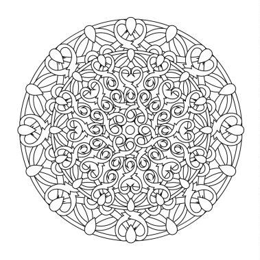 contour, monochrome Mandala. ethnic, religious design element with a circular pattern