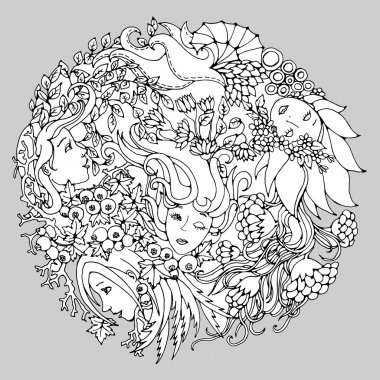 Floral round decorative element with surreal female faces, leaves, berries, branches and flowers. Black and white vector illustration for coloring pages or other.