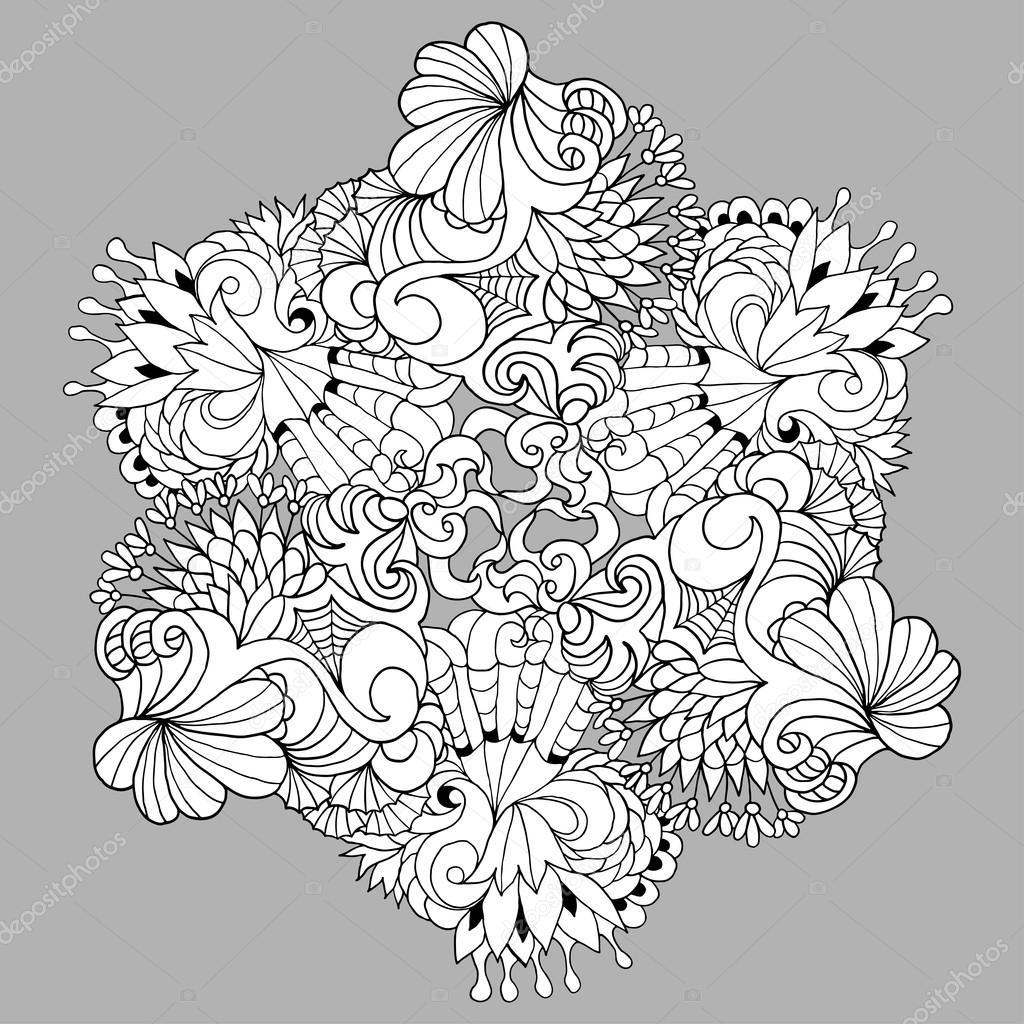 Ilustración de vector de blanco y negro para colorear páginas u ...