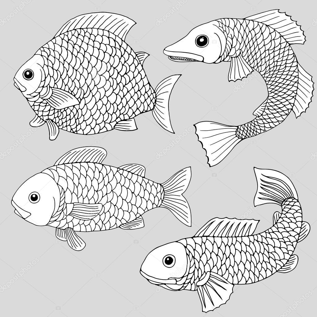 Conjunto de cuatro peces de dibujos animados creativos para colorear ...