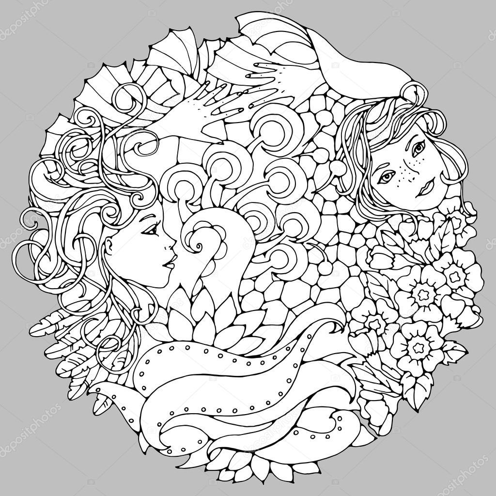 Elemento decorativo floral con mujer surrealista caras, hojas, ramas ...