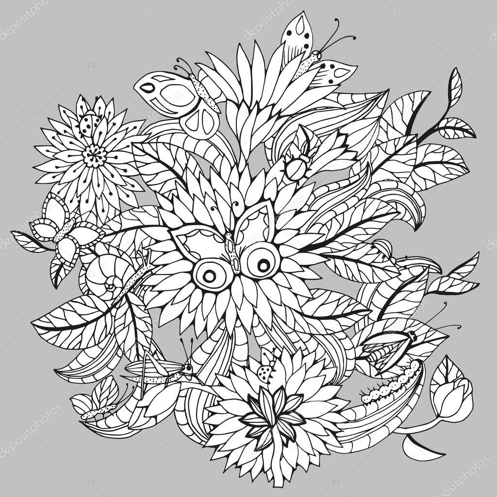 Fondo floral decorativo con mariposas, insectos, hojas y flores ...