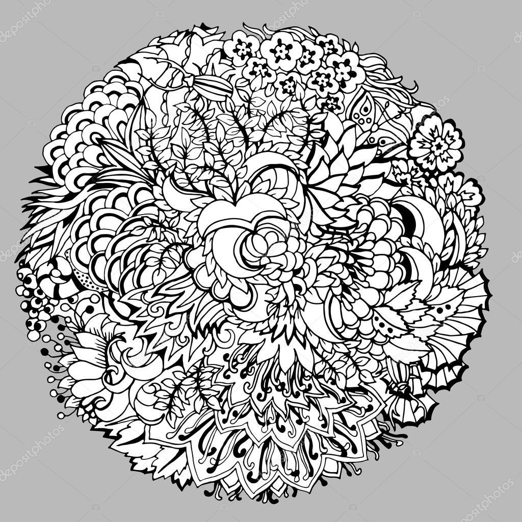 Elemento decorativo redondo floral con hojas, insectos, espirales y ...