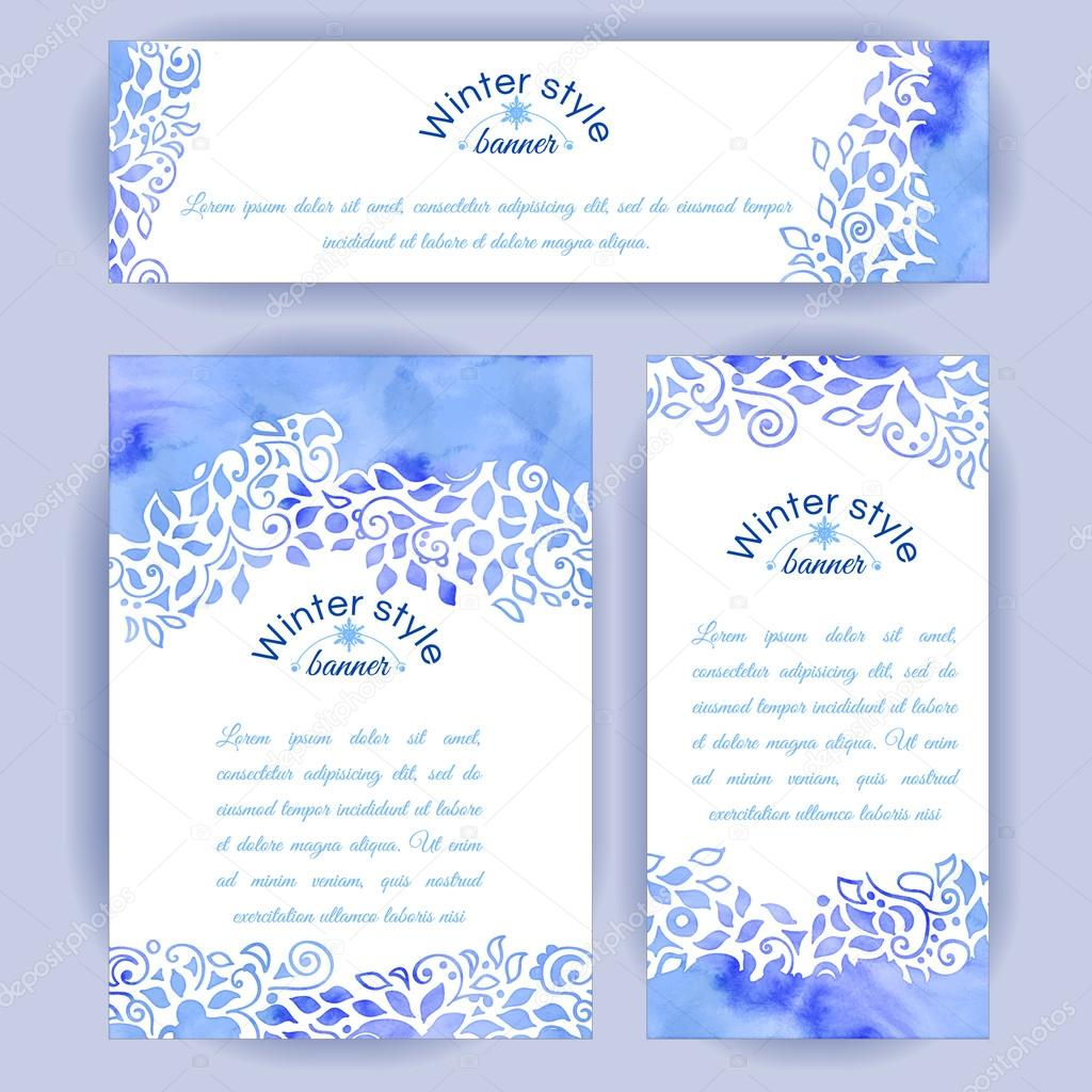 Set of vertical and horizontal banners. Hand-painted blue watercolor colorful leaves and spirals motif. Vector design for cards, invitation and other .