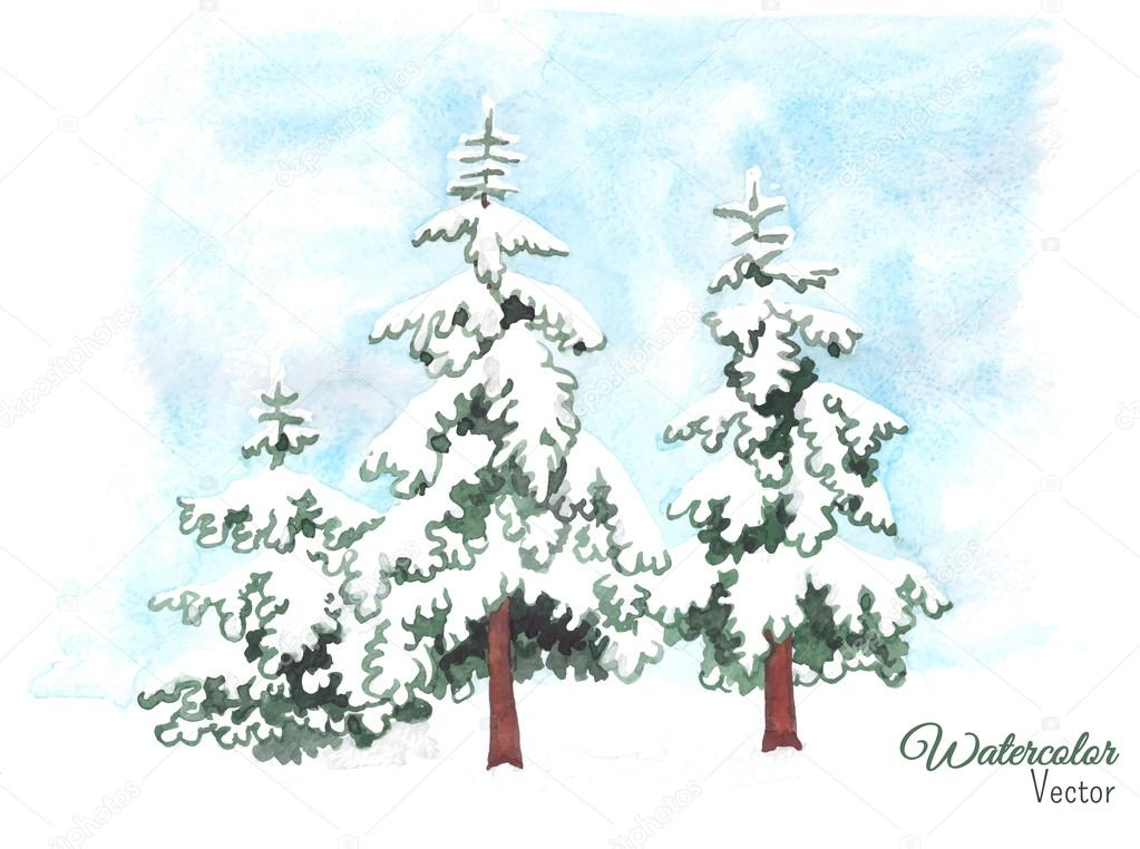 Hand-painted watercolor illustration of winter fir trees covered ...