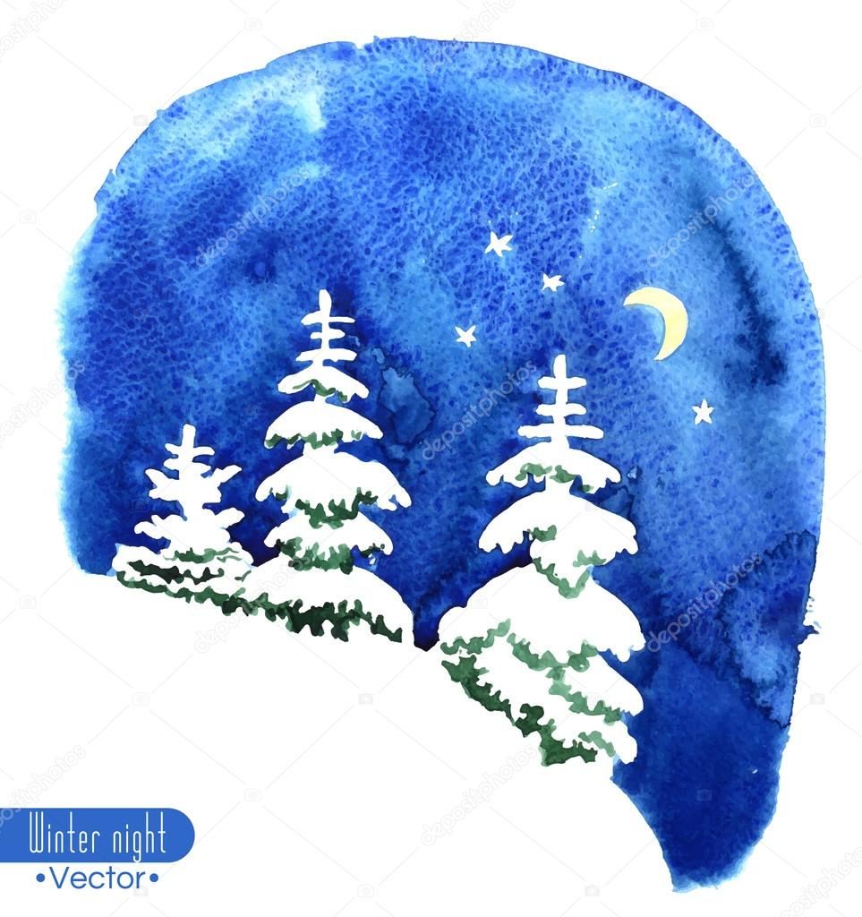 Hand-painted watercolor illustration of winter forest night. Fir trees covered with snow on the background of night sky with moon and stars. Vector design or Christmas card, invitation or other.