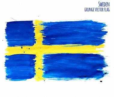 Painted grunge Sweden flag, brush strokes on white background. Vector illustration