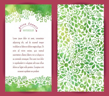 Vertical banners with floral border