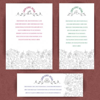 Set of banners with floral border