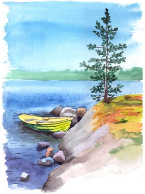 Watercolor river with a fisherman boat