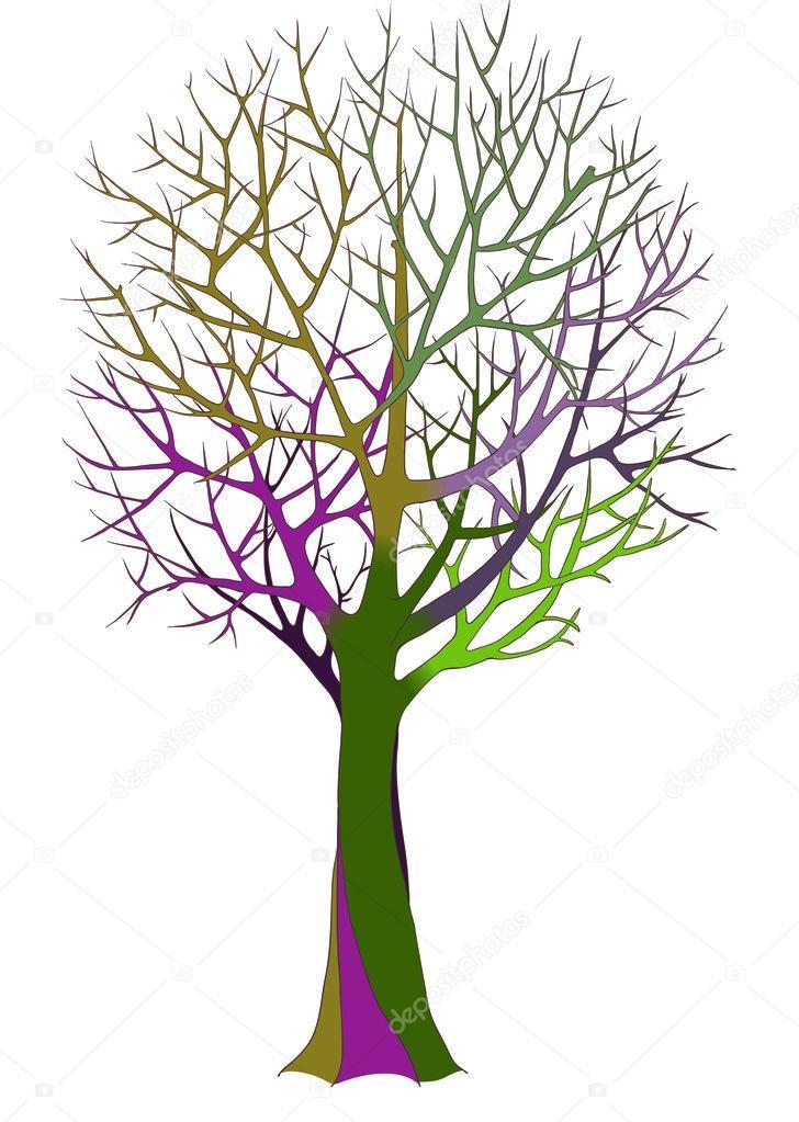 Großer Kahler Baum mit detaillierten Niederlassungen — Stockvektor ...