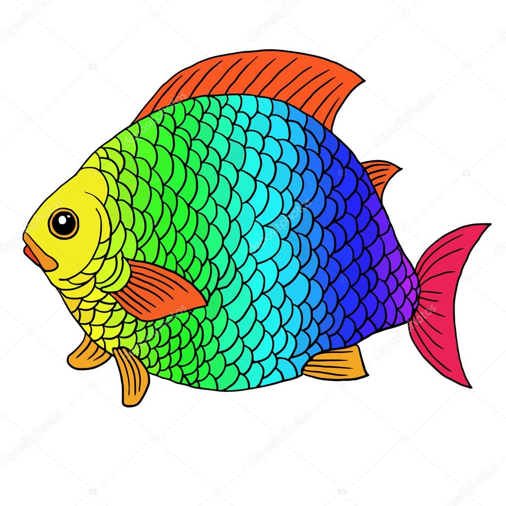 Fantastic fish with rainbow scales — Stock Vector