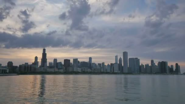 Chicago Skyline Reflected on the Lake at Sunset