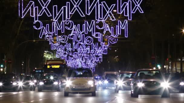 Barcelona Christmas Street Lights Decorations and Traffic
