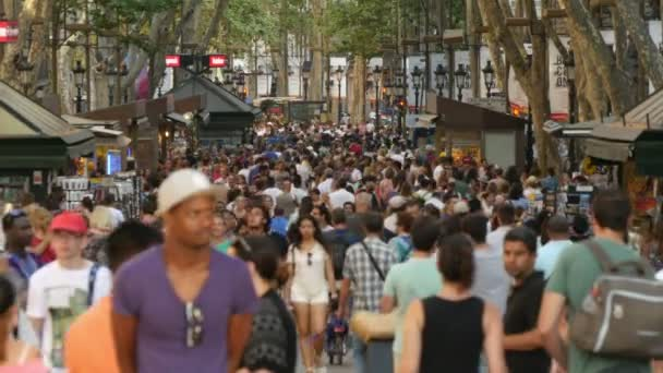BARCELONA, CATALONIA, SPAIN. RAMBLES TOURIST CROWD 2015: Crowds of tourists visiting the city center of Barcelona in Summer, Spain on July 15, 2015