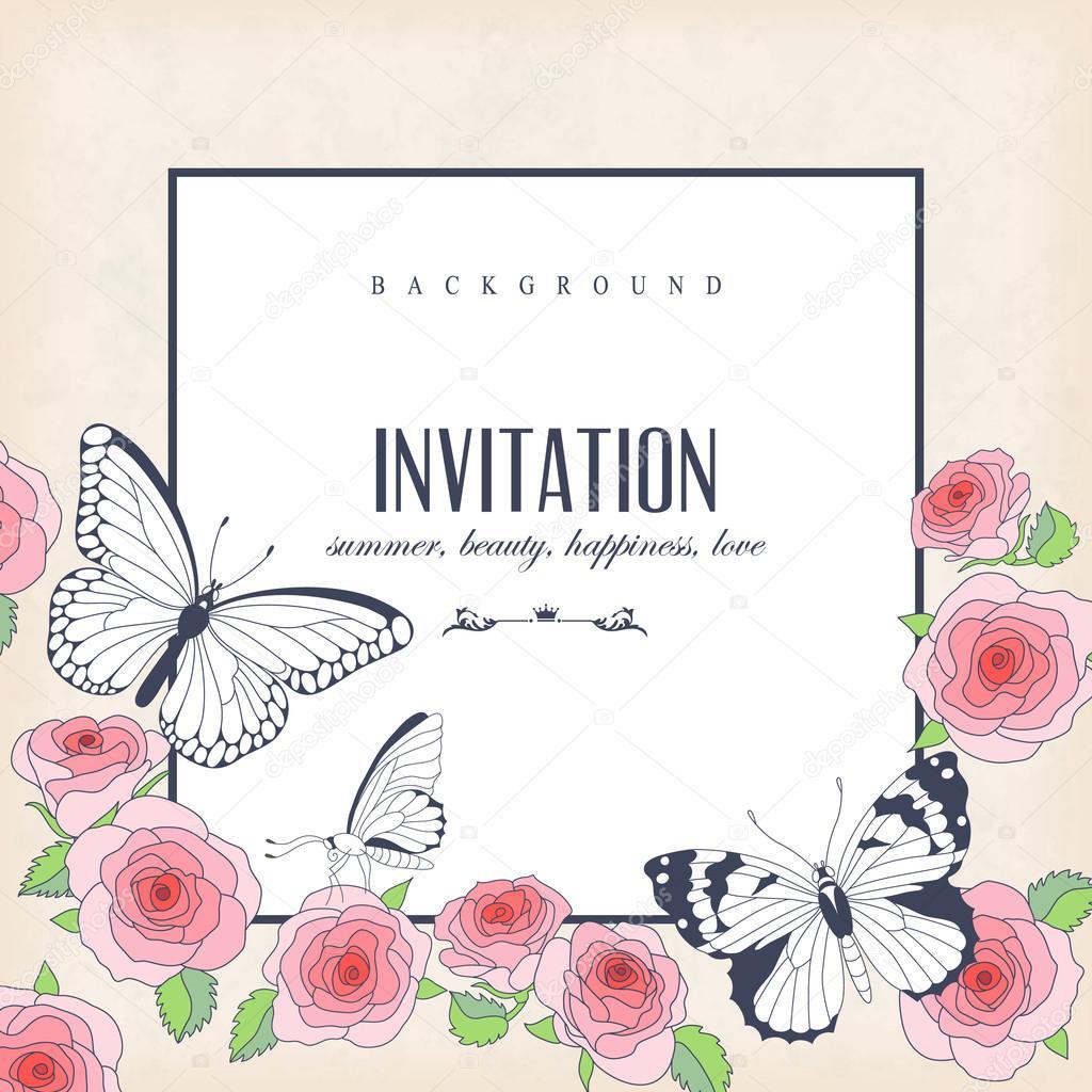 Vector Invitacion Mariposa Tarjeta De La Invitación De