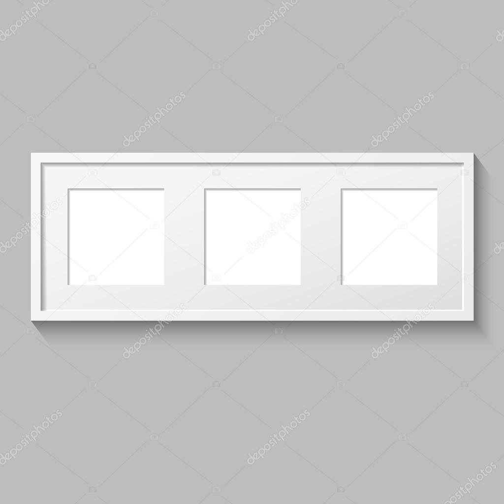 3D picture frame design for image or text. Triptych. — Stock Vector ...