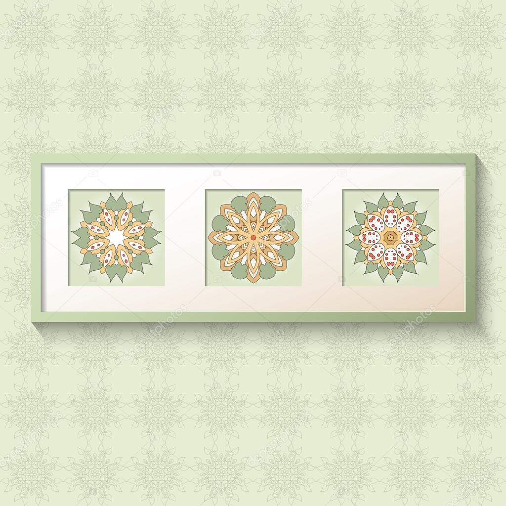 3D Bild-Rahmen-Design mit floralen Ornamenten — Stockvektor ...