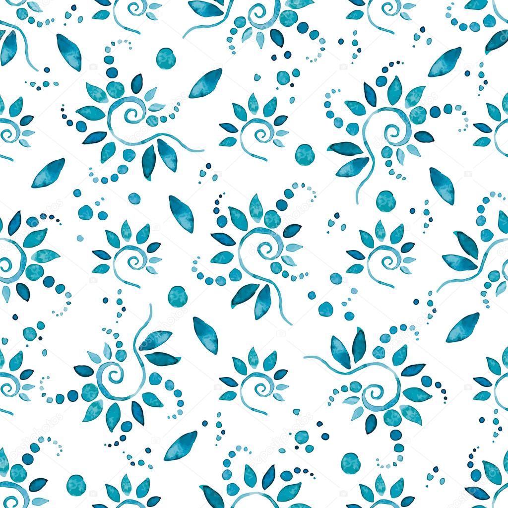 Seamless vector watercolor floral pattern
