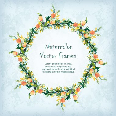 Vector round frame with watercolor  flowers. Place for your text. Perfect for greetings, invitations, announcement, web design. clip art vector