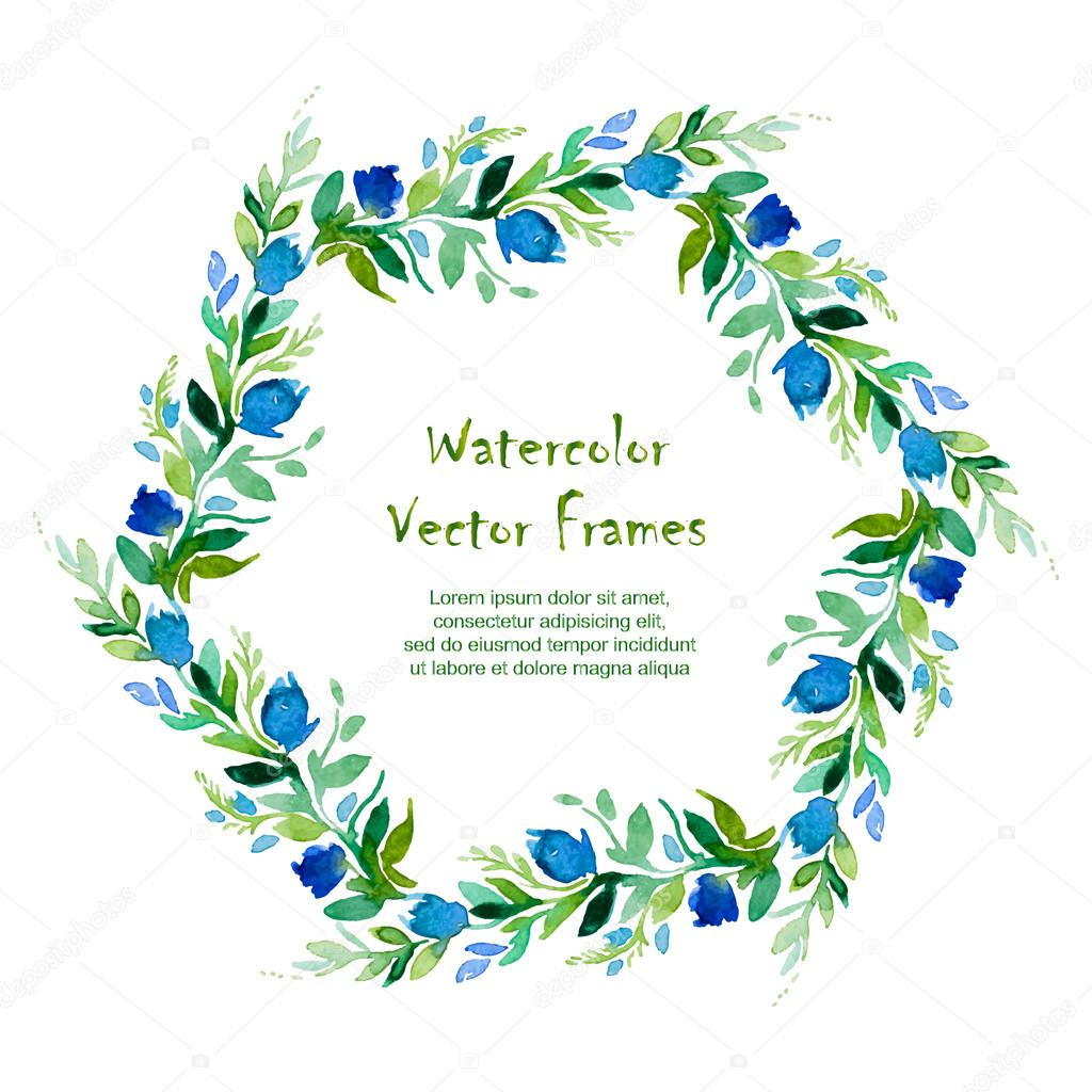 Vector round frame with watercolor Geranium leaves and flowers.
