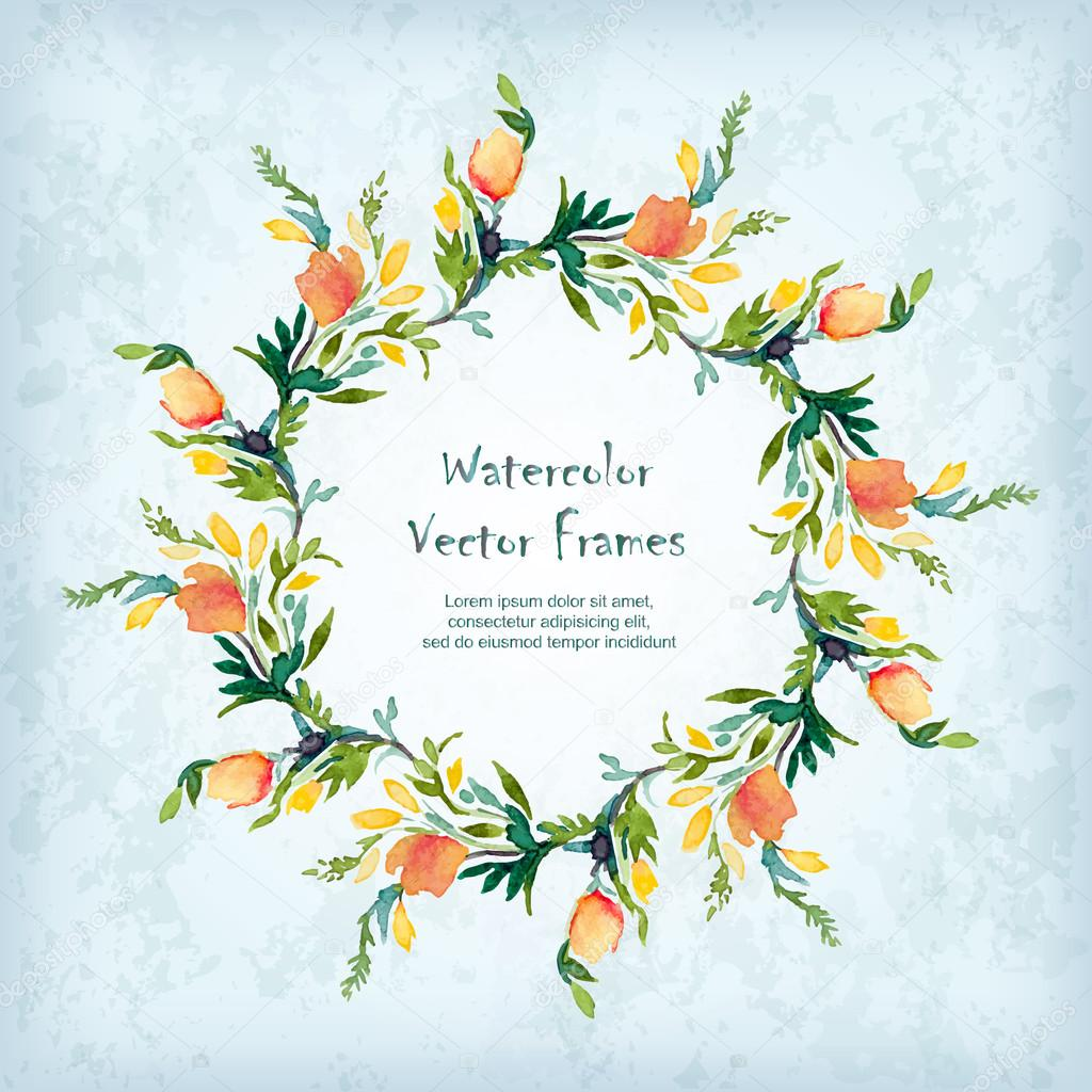 Vector round frame with watercolor  flowers