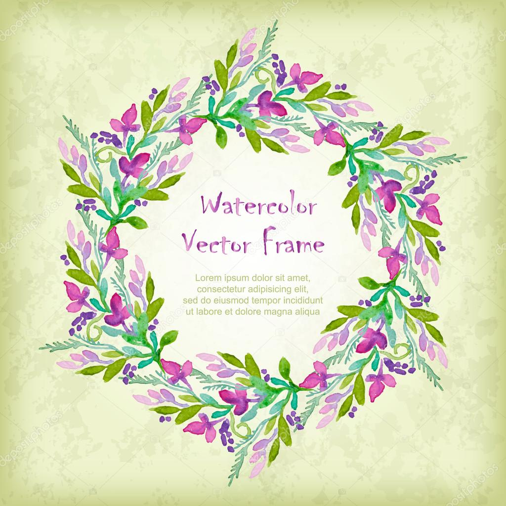 Vector round frame with watercolor  flowers.