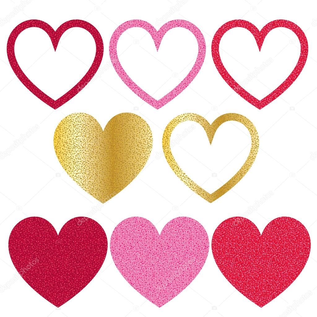 set de corazones del día de San Valentín y marcos — Vector de stock ...