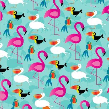 tropical birds pattern