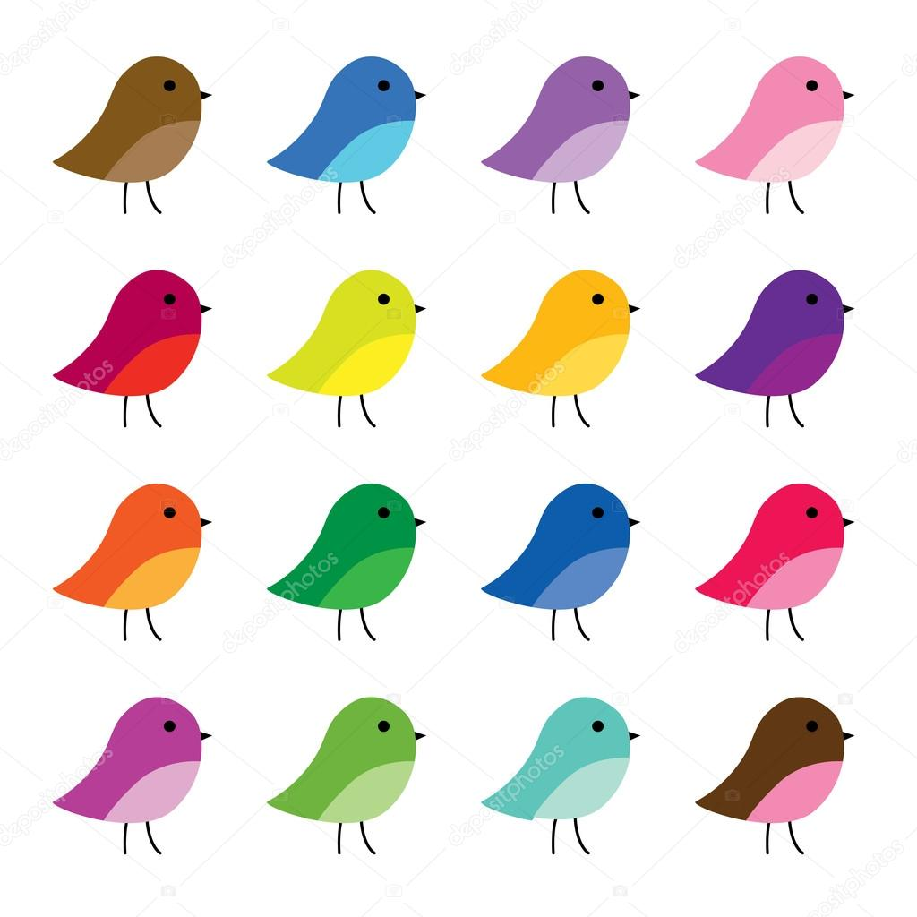 Set Of Colorful Cartoon Birds Stock Vector C Scrapster 108861806