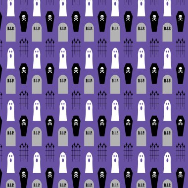 coffins and ghosts on purple