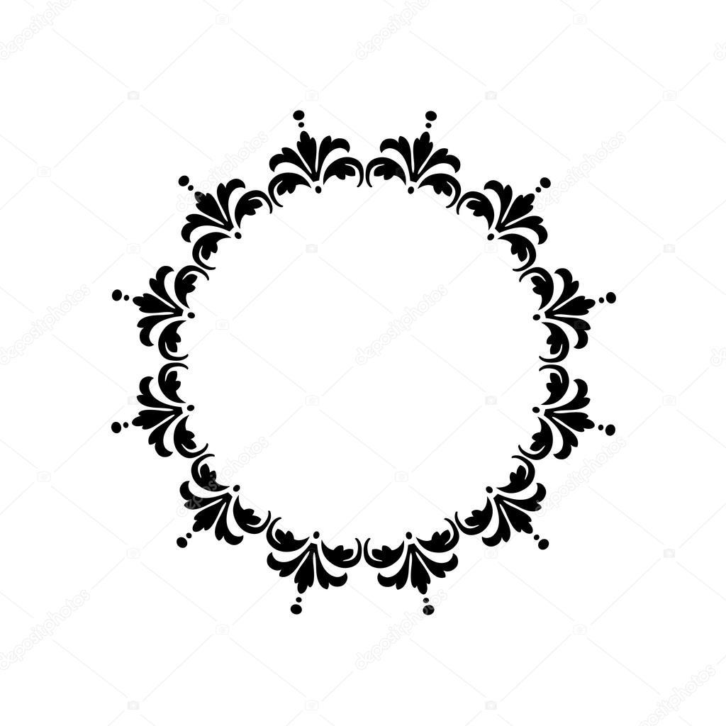 black damask circle frame illustration — Stock Vector © scrapster ...