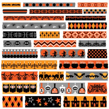 Halloween washi tapes elements set