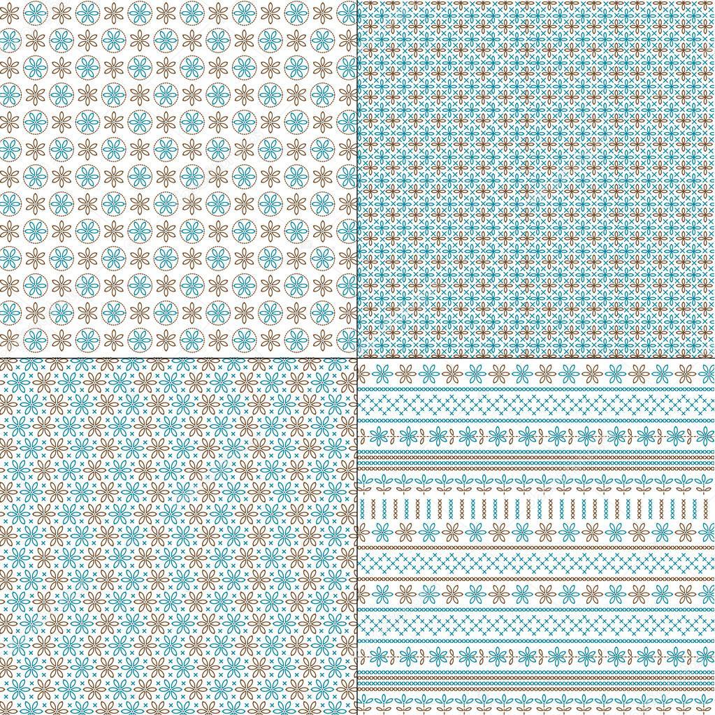 Conjunto de patrones de bordado — Archivo Imágenes Vectoriales ...