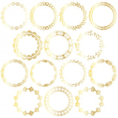 gold circle, round frames