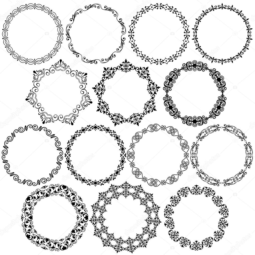 ornate christmas circle frames — Stock Vector © scrapster #92560904