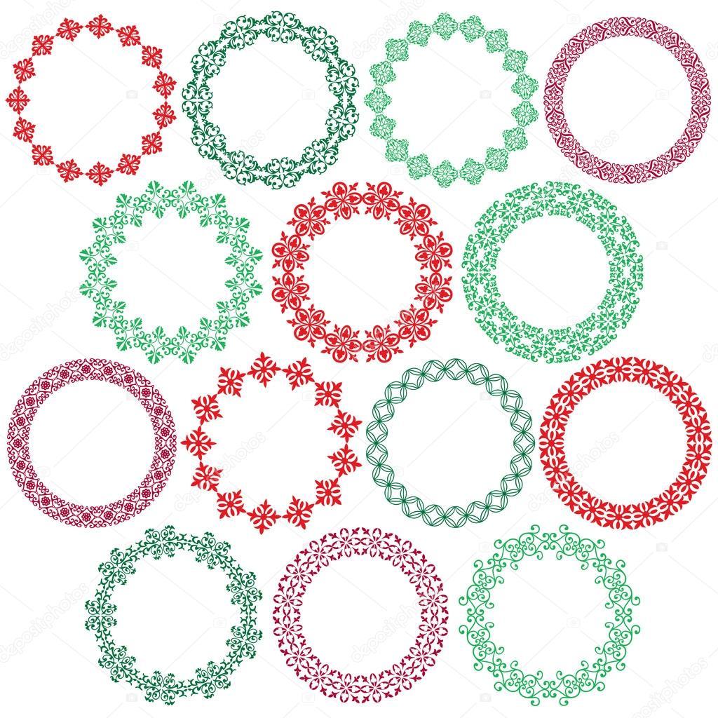 marcos de círculo de Navidad adornado — Vector de stock © scrapster ...
