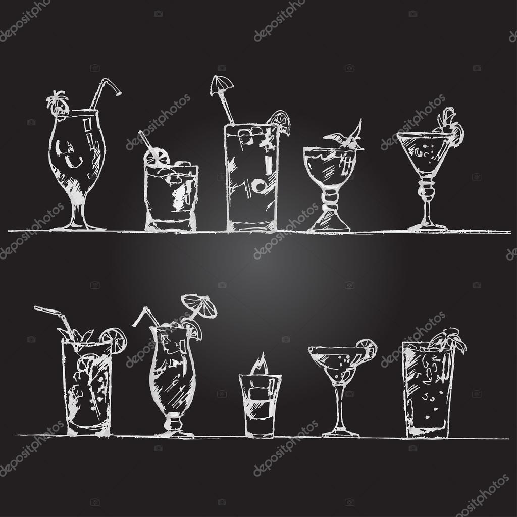Cocteles en pizarra vector conjunto de copas de c 243 ctel al estilo de tiza en - Pizarras de bar ...