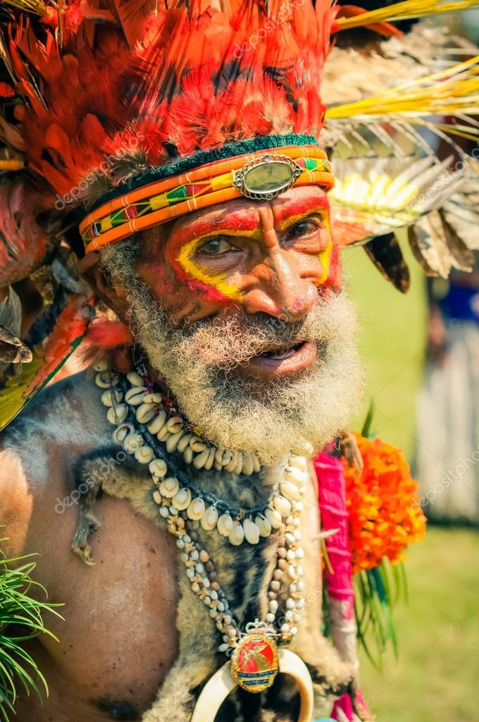 Man Of The Dani Tribe In Traditional Clothing Westpapua