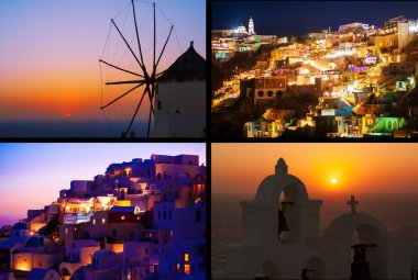Night lights and magic sunset in Greece, Oia. Collage.