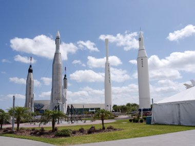 Rocket Garden at the Visitor Centre at Kennedy Space Centre, Cape Canaveral, Florida, USA