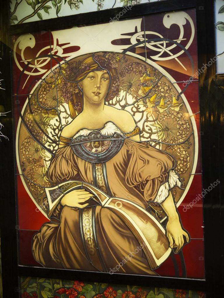 Art Nouveau glass panel in hotel in Central Rome Italy