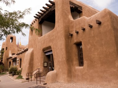 Typical architecture of Santa Fe the State Capital of New Mexico USA