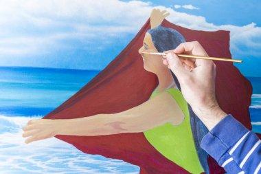 """Картина, постер, плакат, фотообои """"фото молодого художника, задыхающегося в помещении с естественным освещением пейзаж натюрморт арт"""", артикул 424471652"""